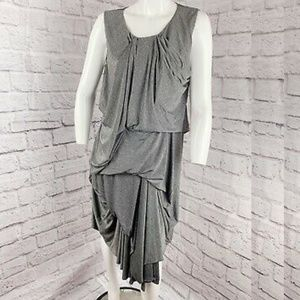 COS Twisted Drape Gathered Dress Jersey Asymetrica